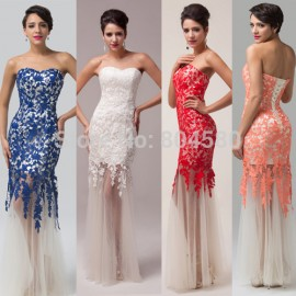 Hot Sale Cheap Elegant Sheath Appliques Lace Evening Dress Mermaid prom Dress Women party Gown Long CL6043