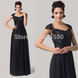 Hot Sale Stock Cheap Floor Length Long Lace Prom Gown Black Mother of the Bride dress Women Cap Sleeve Evening Dress  CL6127