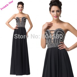 Hot Sell Fashion Sexy Party Dresses Full Length Strapless Evening dress Long Black Bandage Prom Gown Formal Women CL6162