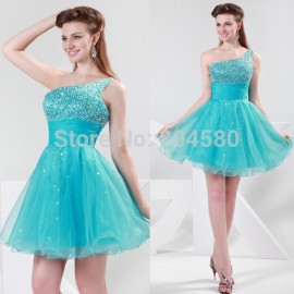 Hot Selling Grace Karin Stock One Shoulder Pleated Party Gown Knee length Short Prom Homecoming Evening Dresses  CL4414
