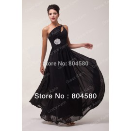 Hot Selling Grace Karin Stock One shoulder Chiffon Black Formal Evening Dress Long Celebrity Dresses  CL6058