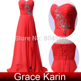HotGrace Karin Full Length Chiffon Split Dinner Party Dress Long Banquet Prom Gown Sexy Women Red Evening dresses CL3443-2