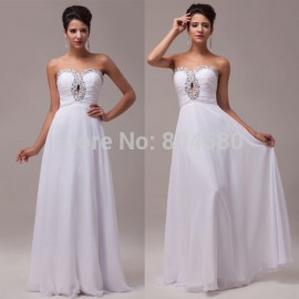 In Stock Grace Karin  White Strapless Chiffon Long Beading Formal Evening Dress  CL6037