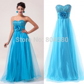 In Stock Sexy Beaded Crystals Floor-length Organza Long Prom dresses Formal Evening Party Gown Homecoming Dinner dress CL6039