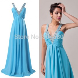 Junoesque Design Chic A-Line Floor Length Chiffon Club Dress Lady Blue Evening Dress Red Carpet dresses Long Prom Gown CL6040