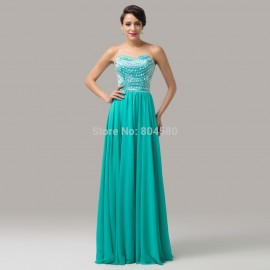 Latest Grace Karin Strapless Blue Formal Occasion Evening dress Floor Length Long Chiffon Dinner Party dresses Women Prom CL6164