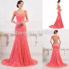 Latest Fashion 2015 New Lace Appliques Natural Evening dress Backless Formal Party Mermaid Prom dresses Long Celebrity Gown 7510
