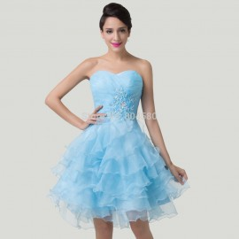 Modest Knee Length Layers Short Designer Gown dress Blue Homecoming Dance Party Gowns Ladies Prom dresses  CL6283