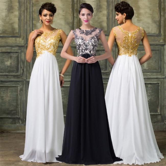 Modest White&Gold Lace Appliques Celebrity Dresses Floor Length Formal Evening Dress 2015 Long Engagement Prom Party Gown D6267