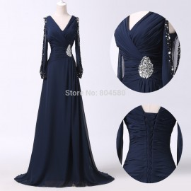 Navy Blue Plus Size   Fashion Sexy Women V Neck Popular Casual Bandage Dress Formal Long Prom dresses Half Sleeve CL6220