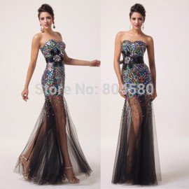 Fashion Strapless Sequins Colorful Long Celebrity Dresses Formal Evening Gown Women Mermaid prom Dress  CL6026