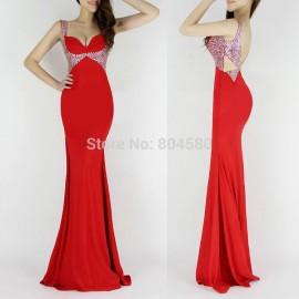 Fashion V-Neck Sheath Occident Backless Formal Elegant Party Dress Women Bodycon Bandage Evening Dresses CL6096