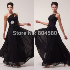 Grace Karin Stock Beautiful One shoulder Chiffon party dresses Formal Evening Dress Long prom dress  CL6058