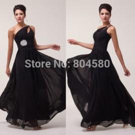 Grace Karin Stock Beautiful One shoulder Chiffon party dresses Formal Evening Dress Long prom dress  CL6058