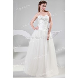 Arrive Sexy Strapless Tulle Bridal Bride Wedding dress Ball Gown Long Party Dresses CL4449