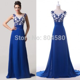 Cap Sleeve Floor Length Blue Chiffon Party Gown Embroidery Formal Evening dress Long Backless Banquet Prom dresses CL6147