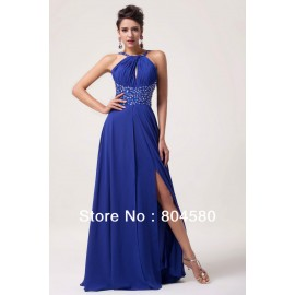 Fashion Ladies' Sexy Beads Split Front Event Special Occasion Evening Dresses Blue Long Prom party Gown Formal Dress CL6023