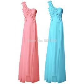 Fashion Stock One shoulder Chiffon Formal Dress Fashion Design Evening Dress Long 8 Size US 2~16 CL4526