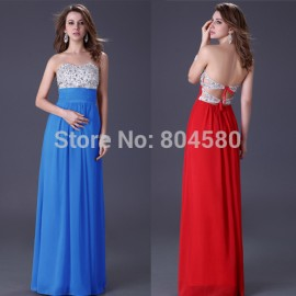 Fashion Stock Strapless Formal Party dress Floor Length Blue Red Pink Long Chiffon Backless evening dresses Gown CL3424