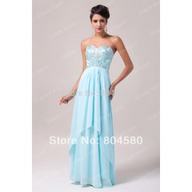 Fashion Strapless off the shoulder beads Long Design Chiffon Backless prom Dresses Women Blue Evening Party Gown  CL4504