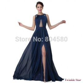 Fashion Women Floor Length Blue Bandage Dress Split Celebrity Backless Prom Dresses Formal Evening Party Gown CL6281