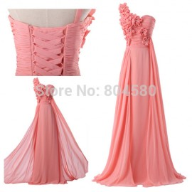 FashionStock One shoulder Chiffon Bridesmaid dresses Long Maxi Prom Party Gown Formal Brides Maid dress CL4526
