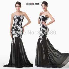 Grace Karin Design Sweetheart Appliques Black Tulle Sheath Bandage Party Evening dresses for Prom Long Formal Gowns CL6257