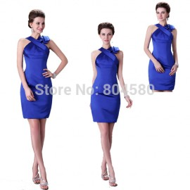 Lady Knee Length Sexy Women Formal Evening Dress to Party Short Prom Gown Fashion Blue Bodycon Bandage Dresses  CL2017