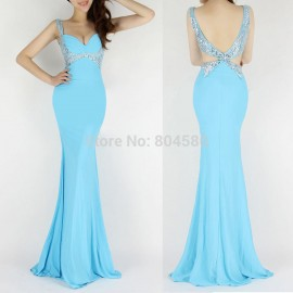 Occident Backless V-Neck Women Fashion Evening party Casual Long Dresses Bodycon Bandage dresses Formal Prom Gown CL6096