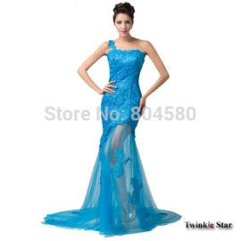 Stock Floor Length One Shoulder long lace dress evening gown Blue Black Trumpet Party dresses Formal Gowns CL6129