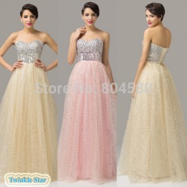 Strapless Tulle & Satin Lace-up back Prom long dress Formal Evening Gowns fashion bandage party dresses CL6150