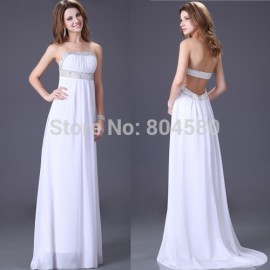 Stunning Strapless Beach Long evening dresses Women Celebrity dress White Prom Gown CL2426