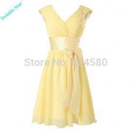 women clothing  spring and autumn Yellow ladies dress Casual Party gown short Evening Prom dresses CL6048