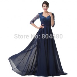 New Brand Chiffon Mother of the Bride Lace Evening Dresses Half Sleeve Formal Prom Party Gown Long Celebrity Dress 2015 CL6234