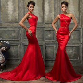 New Design Satin Evening Dresses 2015 Red One Shoulder Bodycon Bandage Dress Mermaid Prom Gown Formal Party Chinese Clothing