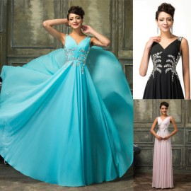 New Design Sleeveless Floor-length Chiffon Long Prom Dresses 2015 Party Gown Backless Ready for Ship vestidos para festa CL7575