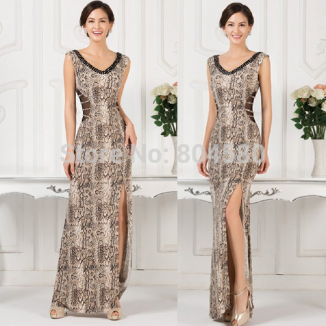 New V Neck Backless Sleeveless High Split Long Prom Dress Floor Length Evening dresses Women Engagement Banquet Party Gown D7543