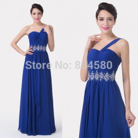 Princess Hot Sale A Line Beaded Party dresses   One Shoulder Evening Prom Gown dress for Formal Occasion Winter CL6185