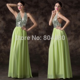Shining Sequined Deep V Neck Sexy Evening Dress    Formal Dresses Backless Long Prom party Gown Green Color CL6200
