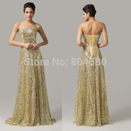 Top Quality  Fashion Women sequins Celebrity dresses Floor length Formal Evening Party dress Long prom Gowns CL6103
