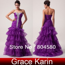 Top Selling Strapless Voile Layers Design Floor-length mermaid evening dresses Long prom Party Gown  CL6034