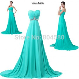 Turquoise ColorGrace Karin   Hot Sale Women Chiffon Red Carpet Dresses Off Shoulder Formal Occasion Evening dress CL6290