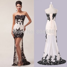 Unique Design In Stock Strapless High-Low Celebrity Dresses Long Evening Prom Party Dress 8 Size US 2~16 CL6044