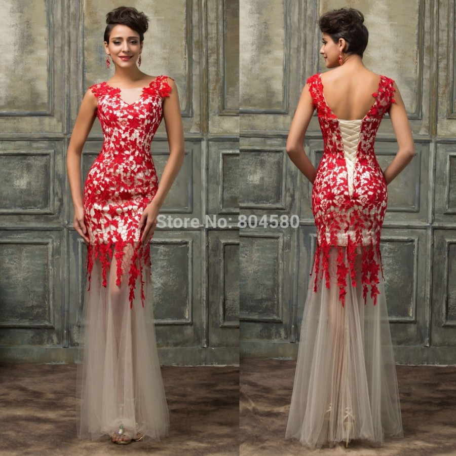Western Style High Neck Black Red Mermaid Prom Dress Plus ...