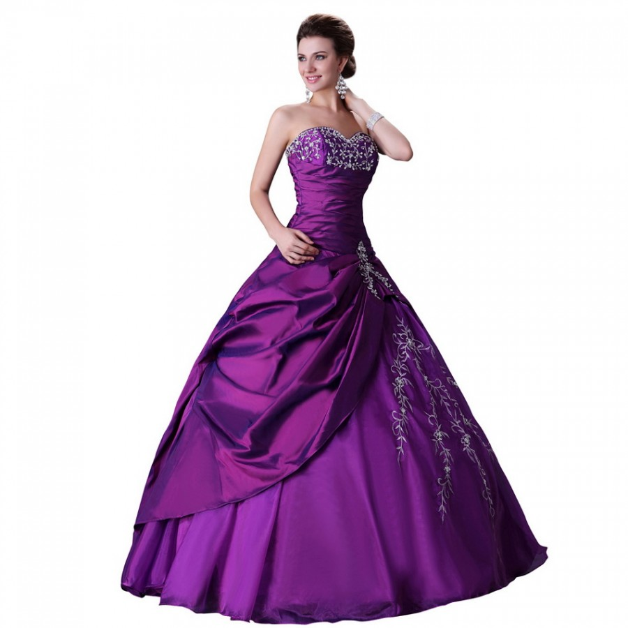 Bride Dressing Gown: Royal Fashion And Elegant Beading Purple Party Gown Long
