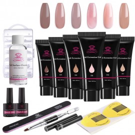 Makartt Poly Nail Extension Gel Kit Nude Color Builder Gel Nail Thickening Solution Equipment All-in-One Kit for Starter