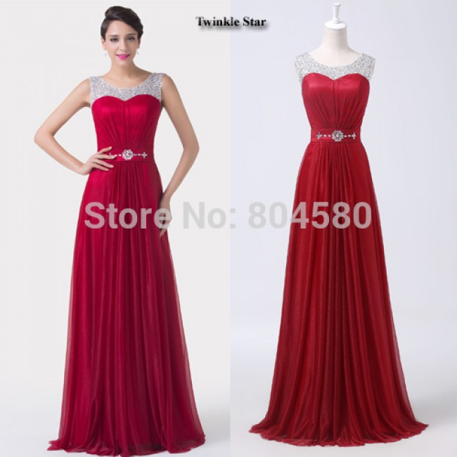 Grace Karin Sexy Red Chiffon A Line Formal Dress Wedding party Gown Floor Length Long Bridesmaid dresses  CL6272