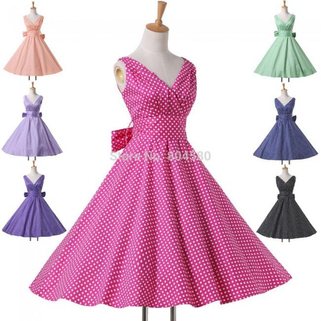 Summer Casual Women Clothing Deep V Neck Cotton Polka Dot Dress Short Flower patten dresses Retro Vintage Gown CL6295