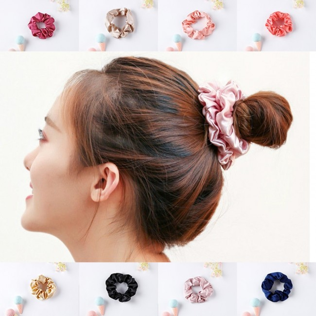 100%silk Hair Scrunchie Hair Accessories Soft Ponytail Holder Solid Pink Colors