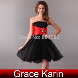Hot Stock Strapless Short Prom gown Blue Yellow White Black Homecoming dresses Cocktail Party Dress CL4097